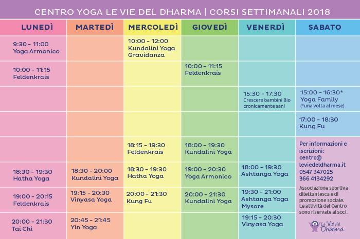 Orari dei corsi settimanali al Centro Yoga Le Vie del Dharma
