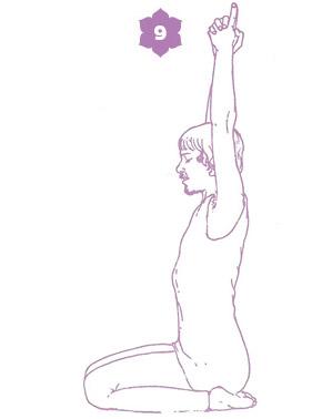 Sequenza yoga per l'energia della spina dorsale - posizione 9, Sat Kriya
