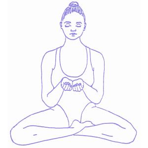 Posizione facile e mudra per la meditazione sulla gratitudine